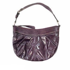 Coach Plum Soft Crinkled Patent Leather Ho…